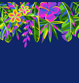 seamless pattern with tropical flowers and palm vector image