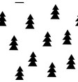 seamless patterns with black fir-trees hand drawn vector image