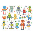 set of cartoon robots vector image vector image