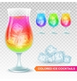 Set of glass of exotic cocktail on a transparent vector image vector image