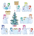 Set snowman and Christmas tree vector image