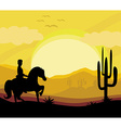 silhouette of a man ride a horse during sunset vector image