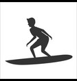 silhouette of surfer riding on surfboard vector image vector image