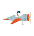 snake pilot flying on retro plane in sky cute vector image vector image