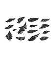 stock set wings silhouettes vector image