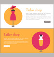 tailor shop two colorful cards vector image vector image