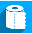 Toilet Paper Roll Flat Square Icon with Long vector image vector image