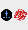 user links icon and grunge labor union seal vector image vector image