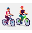Young boy and girl riding bicycles vector image vector image