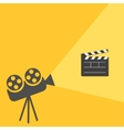 Cinema projector with light Open movie clapper vector image