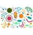 virus bacteria icons set cartoon flat color vector image