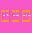 yellow phone on a pink background vector image