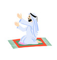 arab muslim man praying on a praying carpet vector image