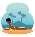 beautiful woman sunbathe on the beach desing vector image vector image
