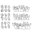 Black and white set of happy people vector image
