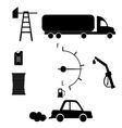 black icons on white background petrol filling vector image vector image