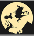 black silhouette of witch flying on broom against vector image