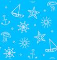 blue sea travel seamless pattern vector image