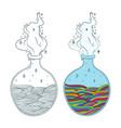 bottles potion multicolor waves in bottle vector image vector image