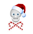 christmas skull icon with candy cane sweets and vector image