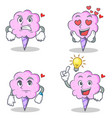 cotton candy character set with angry love waiting vector image vector image