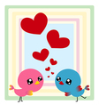 Couple birds with heart vector image vector image