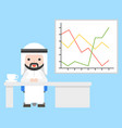 cute arab businessman sitting at office with vector image vector image