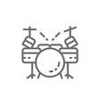 drum kit musical instrument line icon vector image