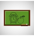 education concept blackboard with clock apple vector image vector image