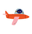 fish pilot flying on retro plane in sky cute vector image