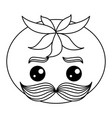 fresh tomato with mustache kawaii character vector image