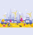 green energy in big city cartoon vector image vector image