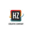 initial letter hz swoosh creative design logo vector image vector image