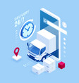 Isometric logistics and delivery concept delivery