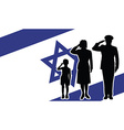 Israel soldier family salute vector image