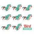 key frames animation of bird flying cartoon zoo vector image