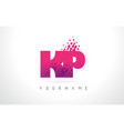 kp k p letter logo with pink purple color and vector image vector image