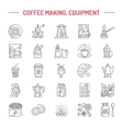 line icons of coffee making equipment vector image vector image