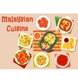Malaysian cuisine salad and soup dishes icon vector image vector image
