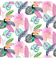 Monstera tropic pink plant leaves and toucan bird vector image vector image