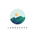 mountain with sunrise logo design vec vector image vector image