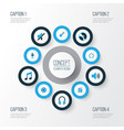 multimedia colorful icons set collection of radio vector image vector image