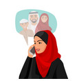 muslim woman in hijab talking over phone with vector image vector image