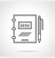 notebook with pen flat line icon vector image