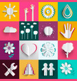 paper cut icons oset n colorful backgrounds vector image vector image