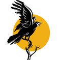 Raven perching on branch retro vector | Price: 1 Credit (USD $1)