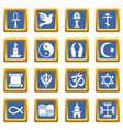 religion icons set blue square vector image vector image
