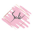 sales gold frame and pink brush vector image vector image