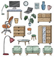 set furniture for office house and for the vector image