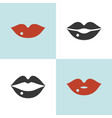 set lips icon close and open mouth vector image